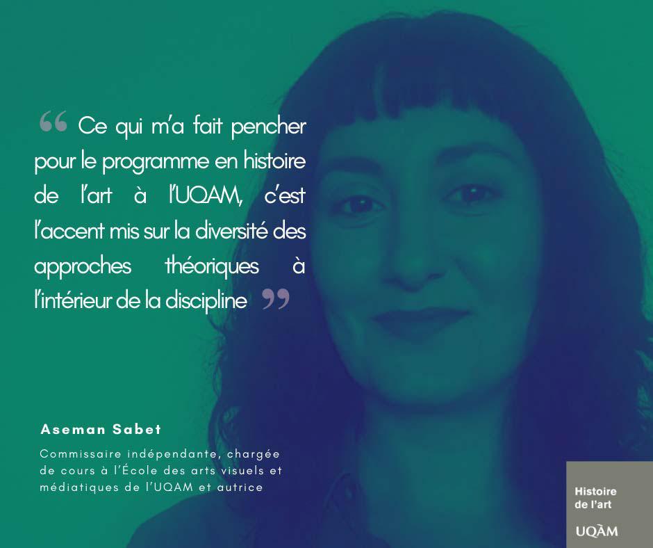 Aseman Sabet, Chargée de cours à l'École des arts visuels et médiatiques de l'UQAM et autrice
