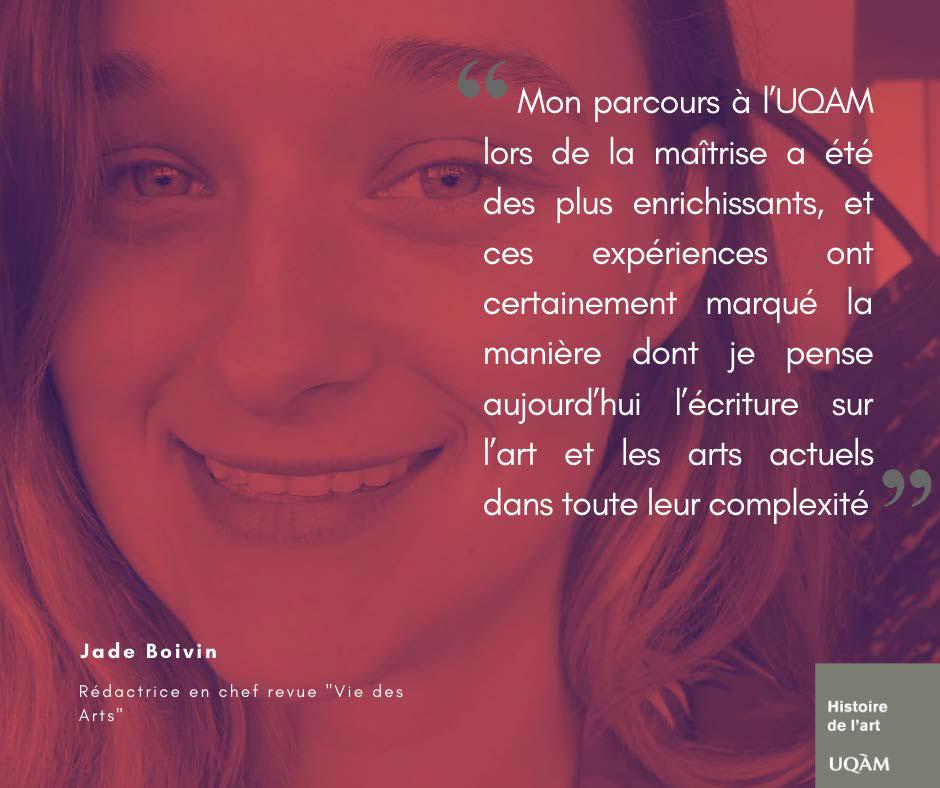 "Jade Boivin, Rédactrice en chef revue ""Vie des Arts"""